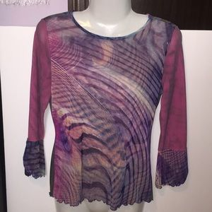ANAC multicolor sheer sleeve top. Size Large.